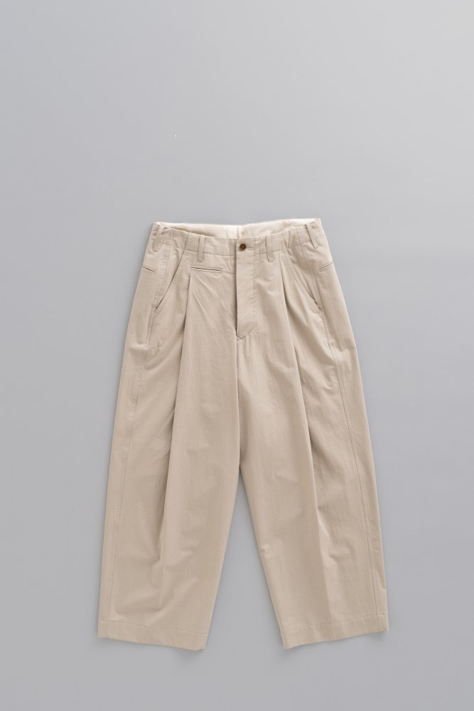 HAVERSACK High Density Twill 1-Tuck Wide Pants (Beige)
