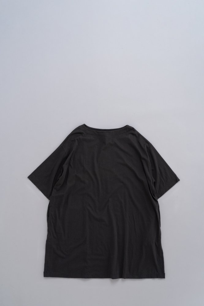 jujudhau ♀BOAT NECK TUNIC (COTTON BLACK)