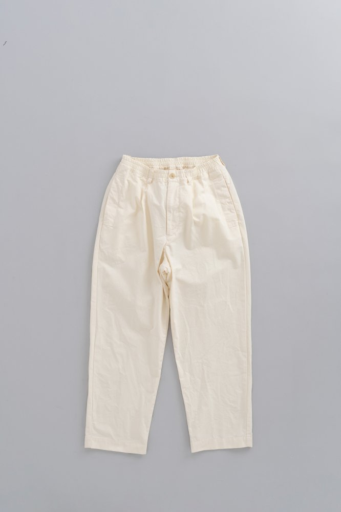 STILL BY HAND  1-Tuck Semi-Wide Tapered Pants (Off White)