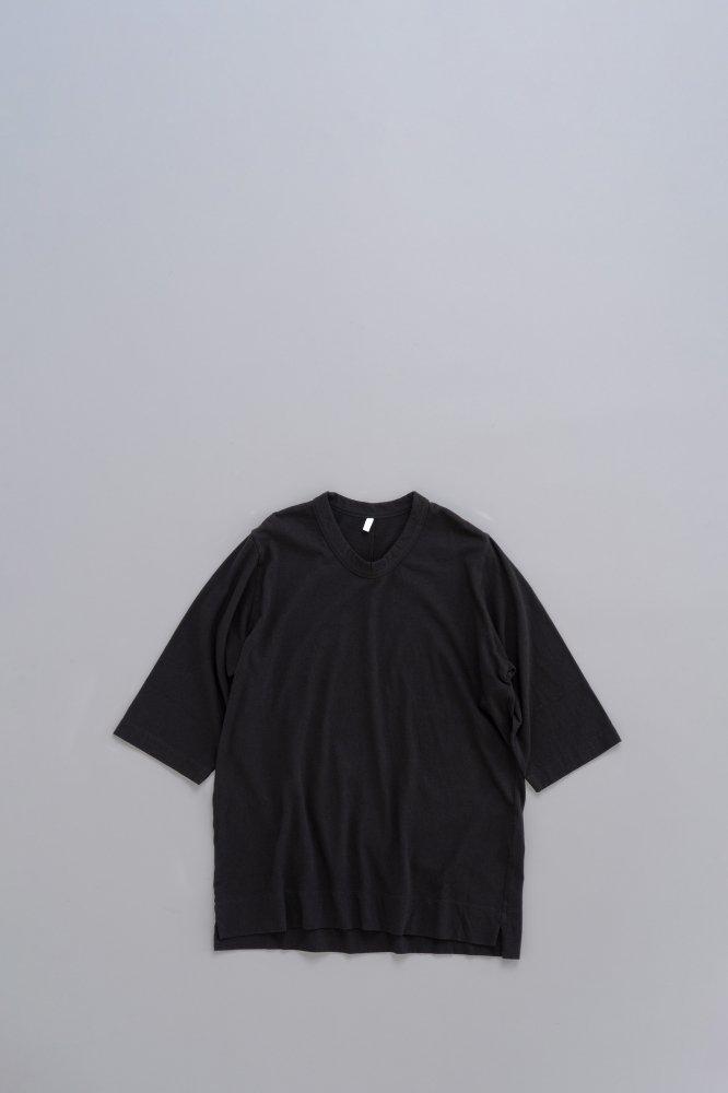 FIRMUM レーヨン混ネップ天竺 6分袖 T (Black)