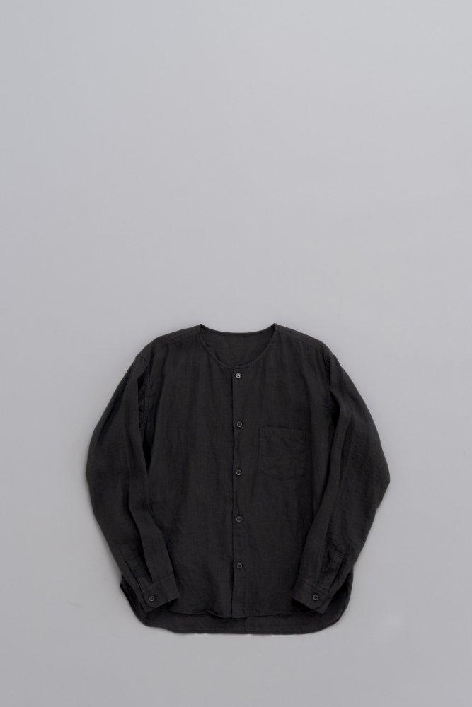 ゴーシュ ♀80/1リネン ノーカラーシャツ (ブラック)