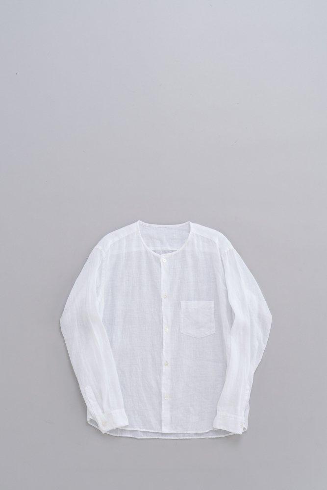 ゴーシュ ♀80/1リネン ノーカラーシャツ (ホワイト)