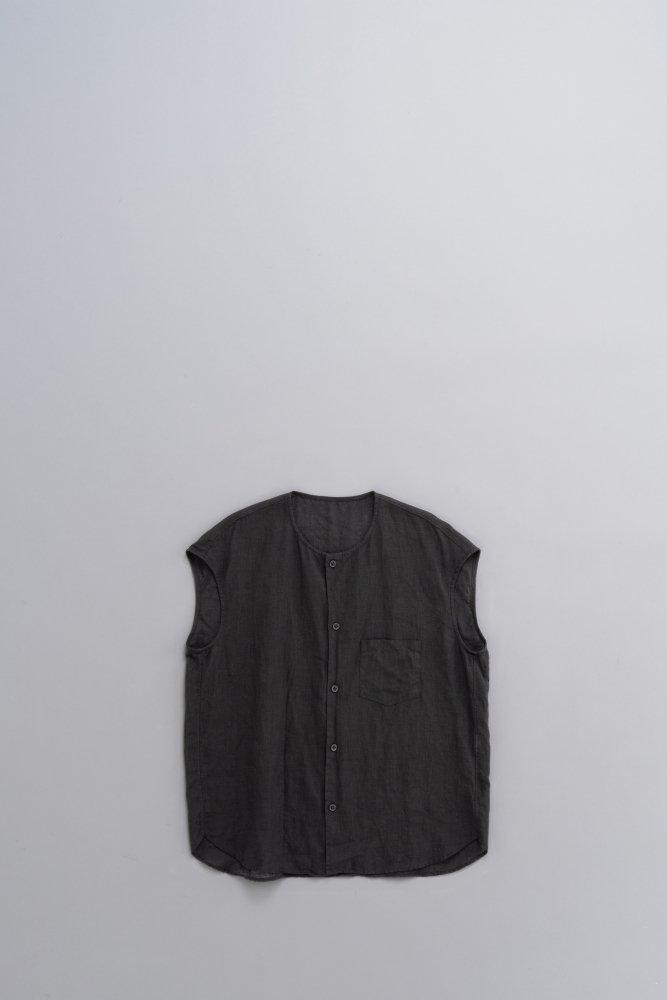 ゴーシュ ♀80/1リネン ノーカラーフレンチスリーブシャツ (ブラック)