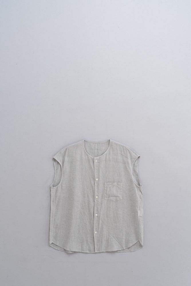 ゴーシュ ♀80/1リネン ノーカラーフレンチスリーブシャツ (ライトグレー)