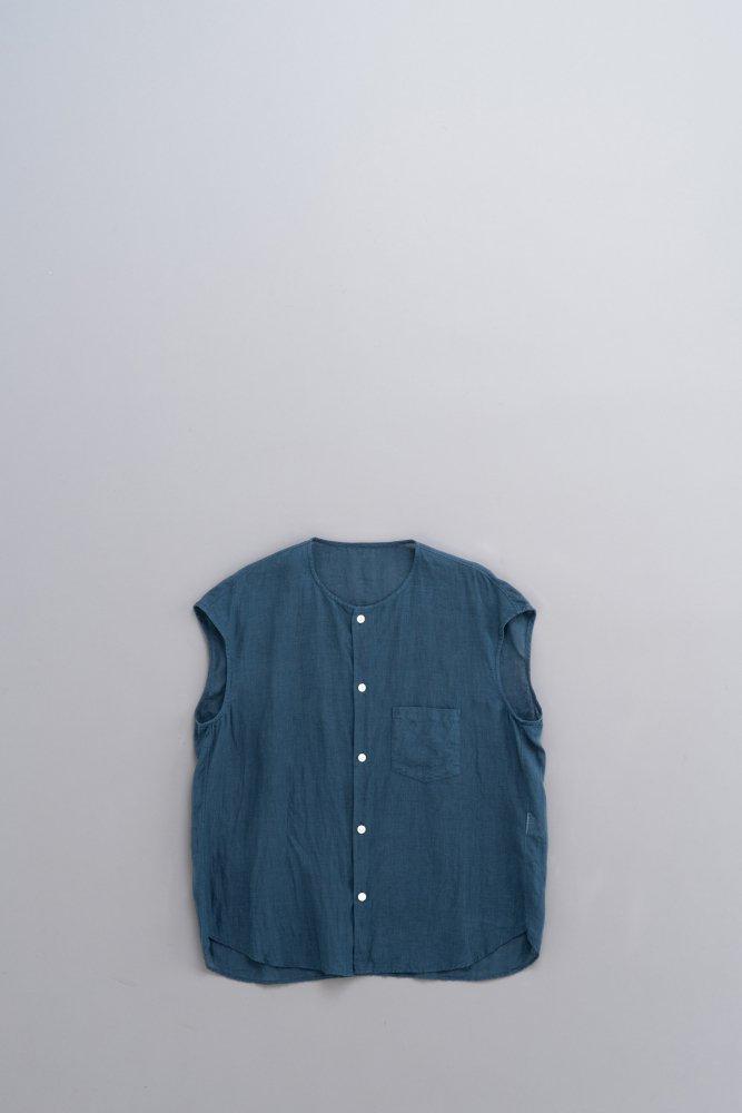 ゴーシュ ♀80/1リネン ノーカラーフレンチスリーブシャツ (ダークターコイズ)