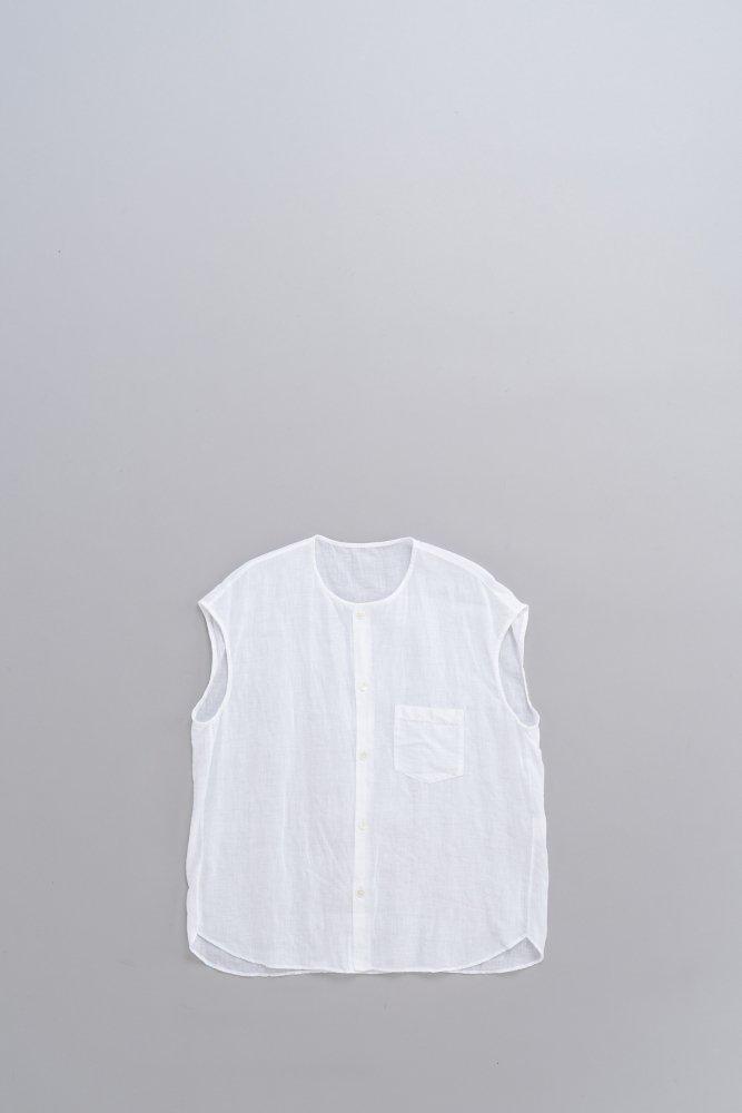 ゴーシュ ♀80/1リネン ノーカラーフレンチスリーブシャツ (ホワイト)