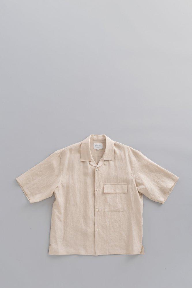 STILL BY HAND Linen Open Collar S/S Shirt (Ecru)
