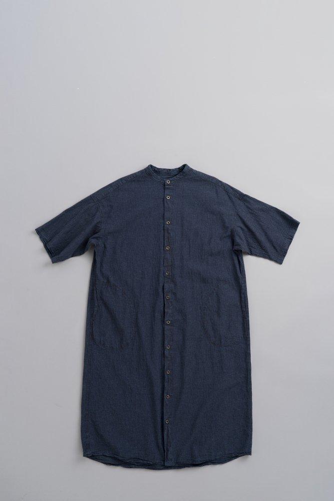prit ♀Indigo Chambray Stand Up Collar 5/10 Sleeve Shirt One Piece