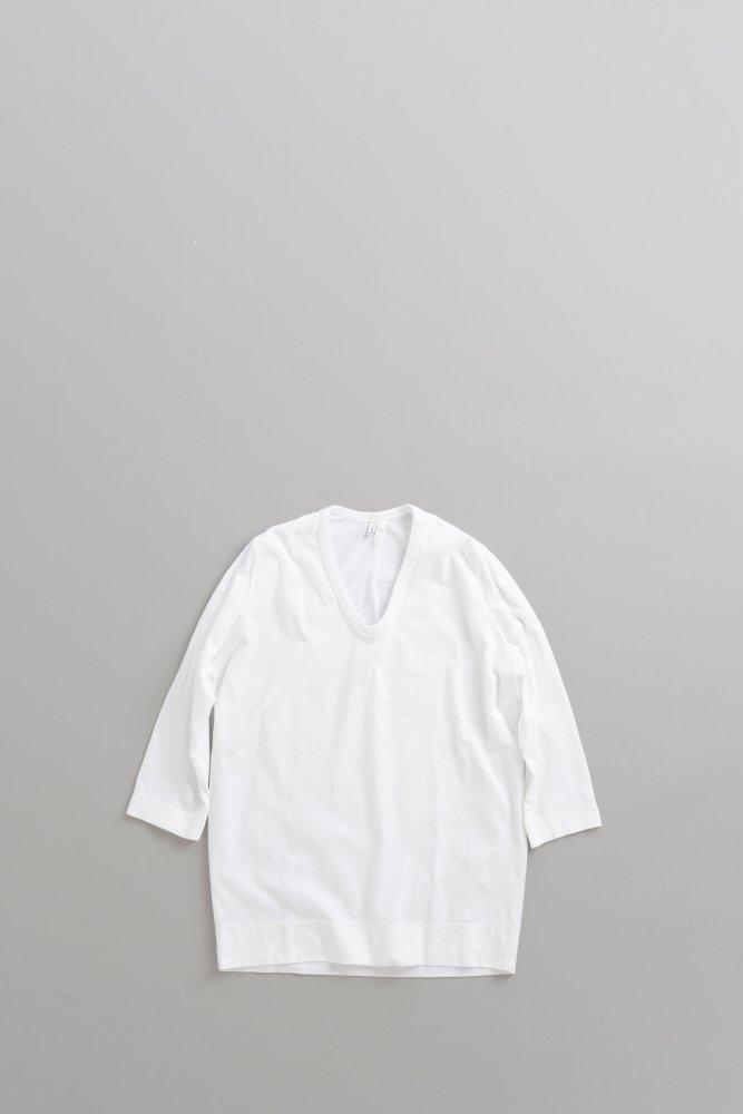 FIRMUM 40/2 コーミングコットン天竺 7分袖プルオーバー (ホワイト)