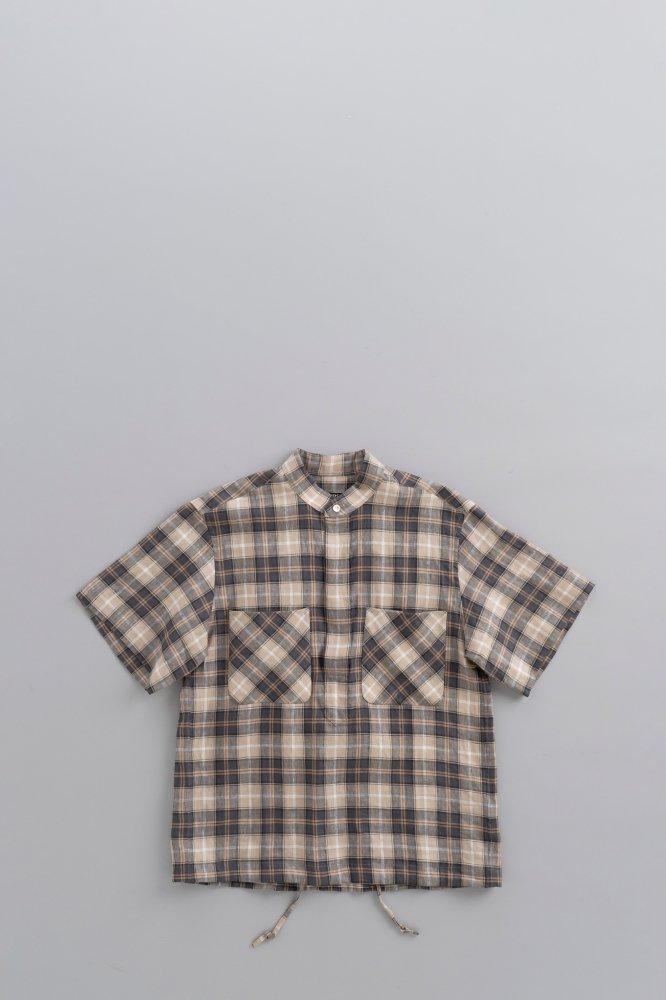 HAVERSACK Linen Chck Stand Collar Pullover S/S Shirt