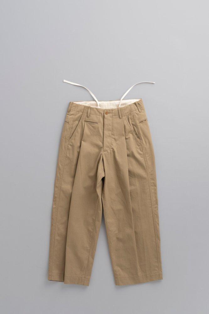 HAVERSACK Selvage Twill 1-Tuck Wide Pants (Beige)