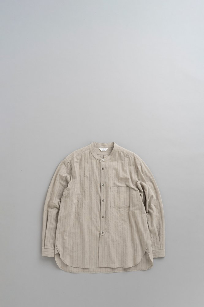 STILL BY HAND C/W Shadow Stripe Band Collar Shirt (Taupe)