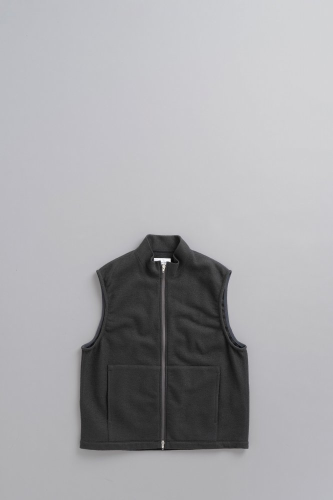 STILL BY HAND Wool Pile Zip Vest (Charcoal)