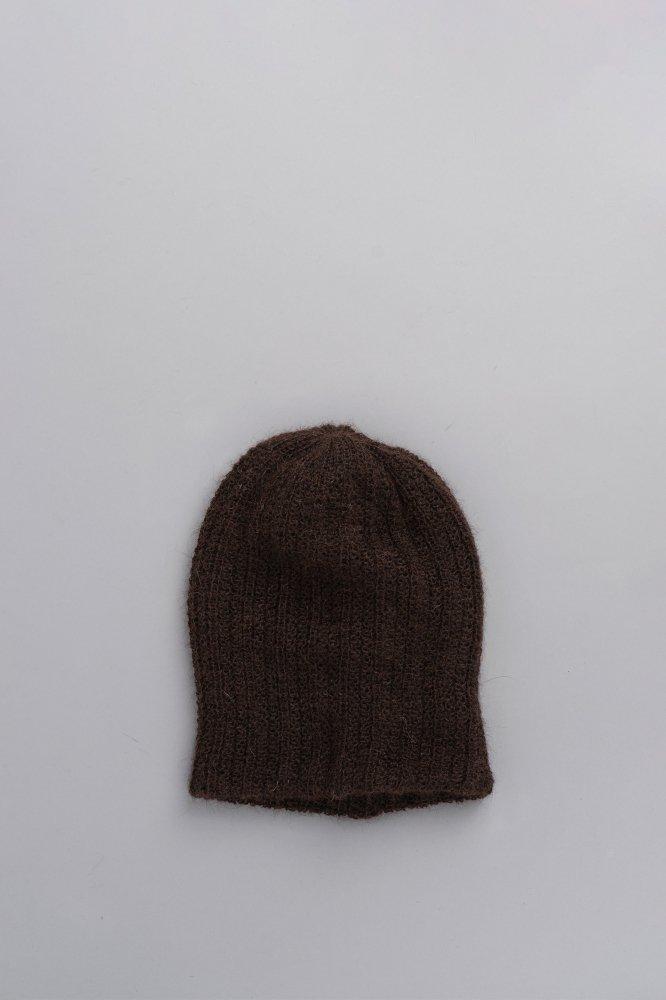 KIJIMA TAKAYUKI Alpaca Knit Rib Beanie (Brown)