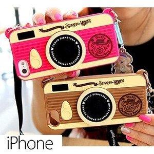 iPhone5s/5 ケース・カバー カメラ風 シリコン ダッフィー ディズニー ストラップ 肩掛け かわいい