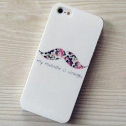 iPhone5s/5 ケース・カバー 花柄ビンテージ風ひげ ロココ調 おしゃれ シンプル かわいい キュート 乙女