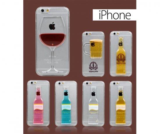 iPhone6plus/6/5s/5 ケース・カバー スケルトン  クリア お酒 ワイン ビール カクテル おしゃれ 人気