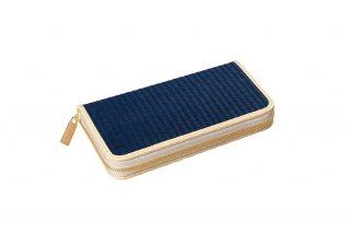 天然芯染い草 ラウンド財布/深藍(ふかあい)紺